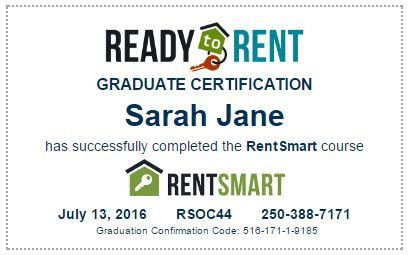 ready to rent certificate
