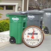 picture of garbage carts with a meter face inset into picture