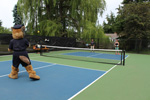 Saanich Police Mascot Ace Playing Pickleball at Tolmie Park