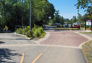 photo of paved trail intersection